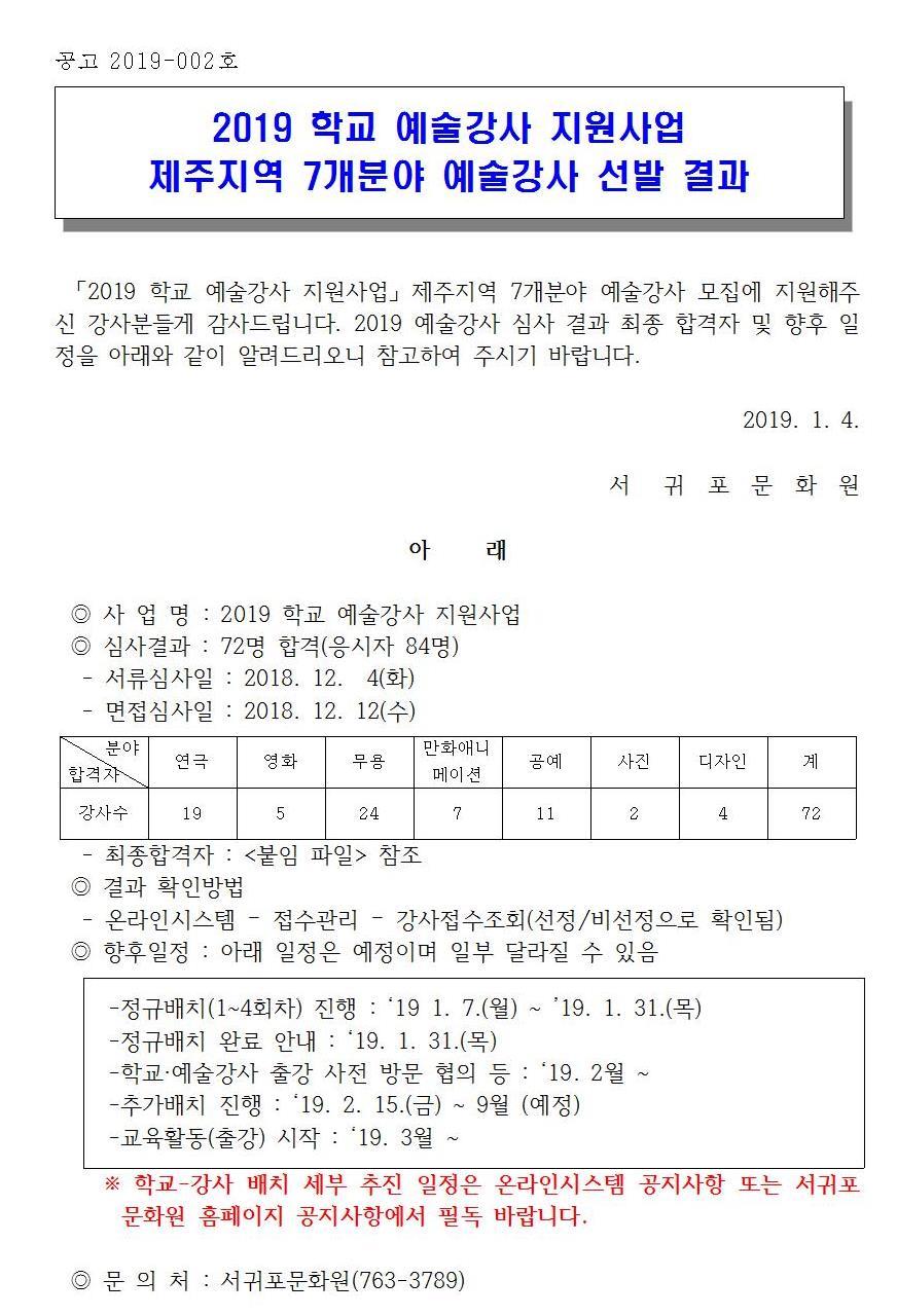 공고002-190104-2019 학교 예술강사 지원사업 예술강사 선발 결과001.jpg